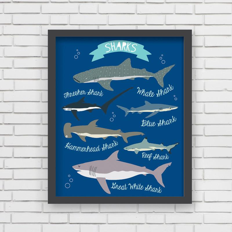 I Love Sharks! Art Print  - The Project Nursery Shop - 2