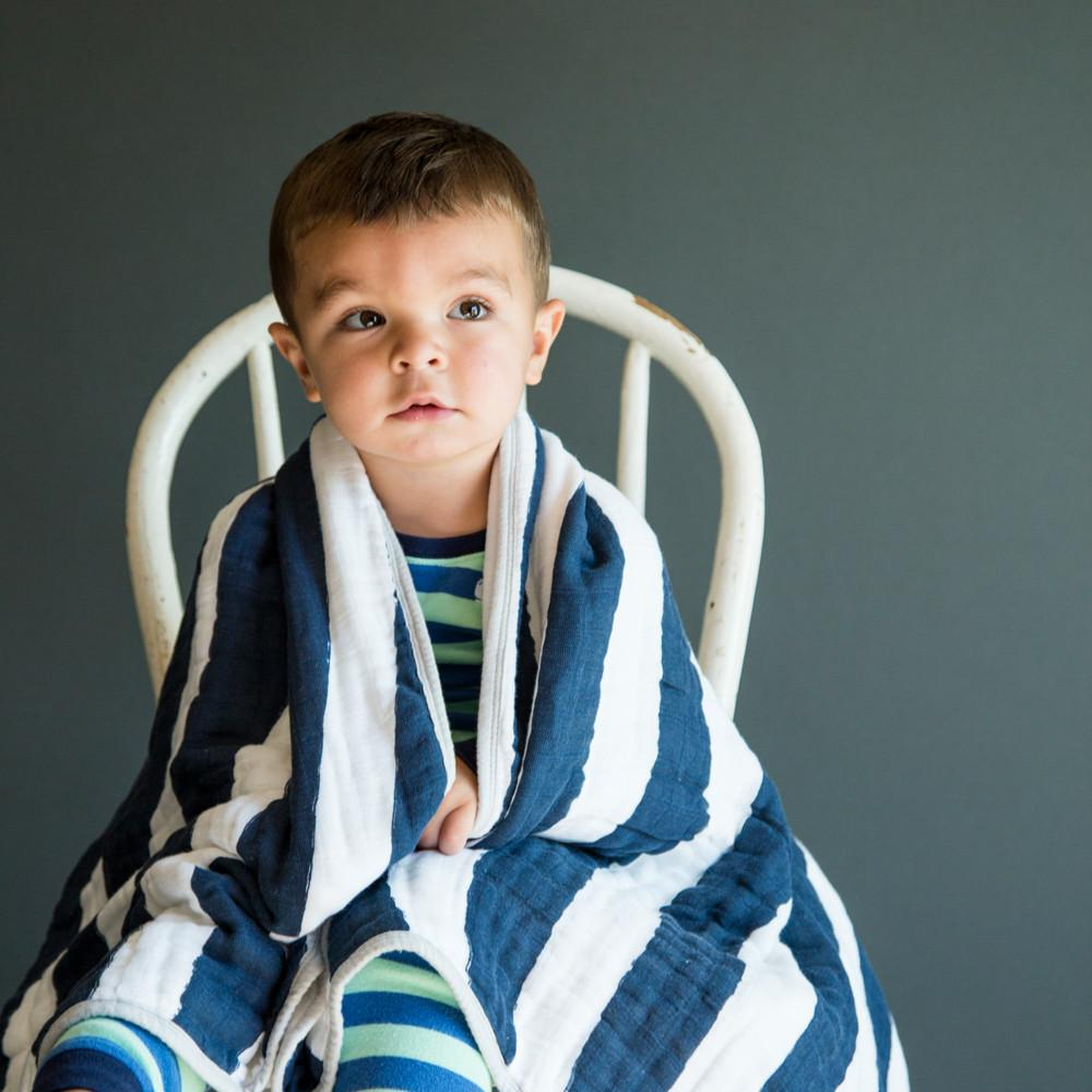 Navy Stripe Toddler Quilt  - The Project Nursery Shop - 2