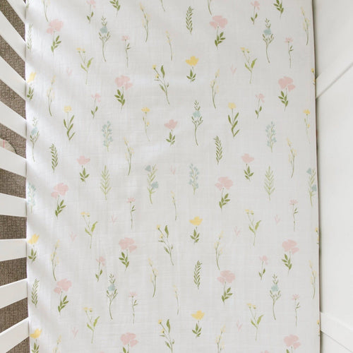 Floral Fields Cotton Muslin Crib Sheet - Project Nursery