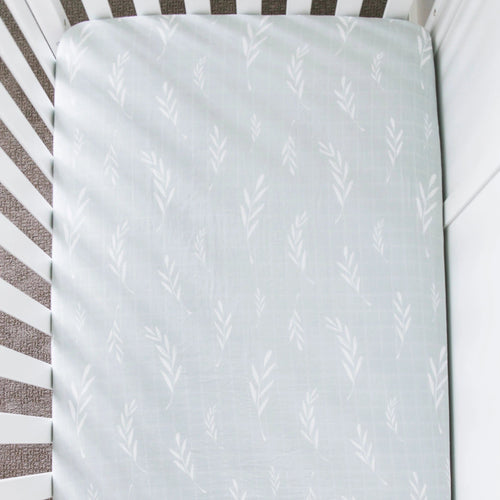 Olive Branch Cotton Muslin Crib Sheet - Project Nursery