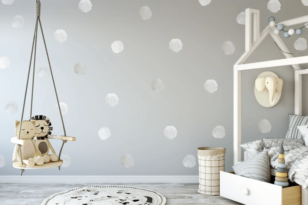 Watercolor Polka Dots Wall Decals Wall Decals Urban Walls Sample White