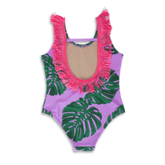 Lilac Botanical Fringe-Back Scoop Swimsuit - Project Nursery