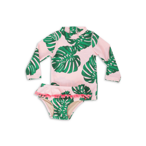 PINK BOTANICAL POM POM RASHGUARD SET - Project Nursery