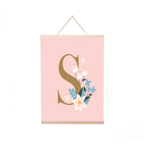 Blush Initial Floral Poster + Hanger - Project Nursery