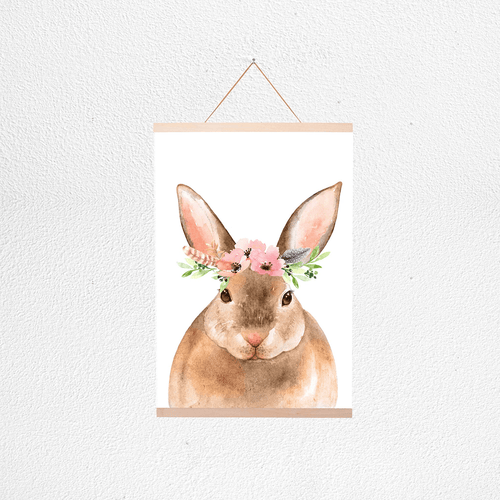 Floral Bunny Poster + Hanger - Project Nursery