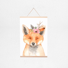 Floral Fox Poster + Hanger - Project Nursery