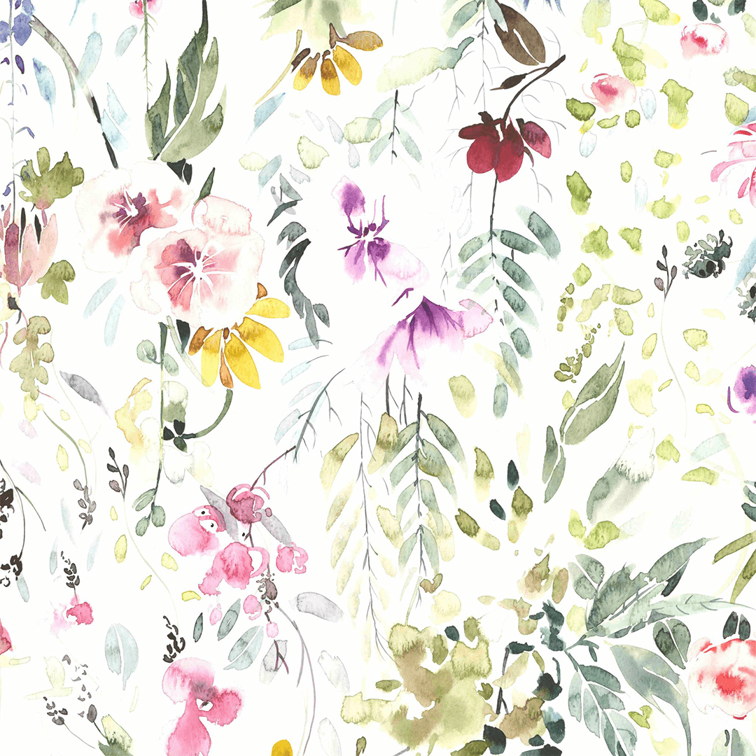 Meadow Floral Wallpaper Watercolor Floral Nursery Wallpaper