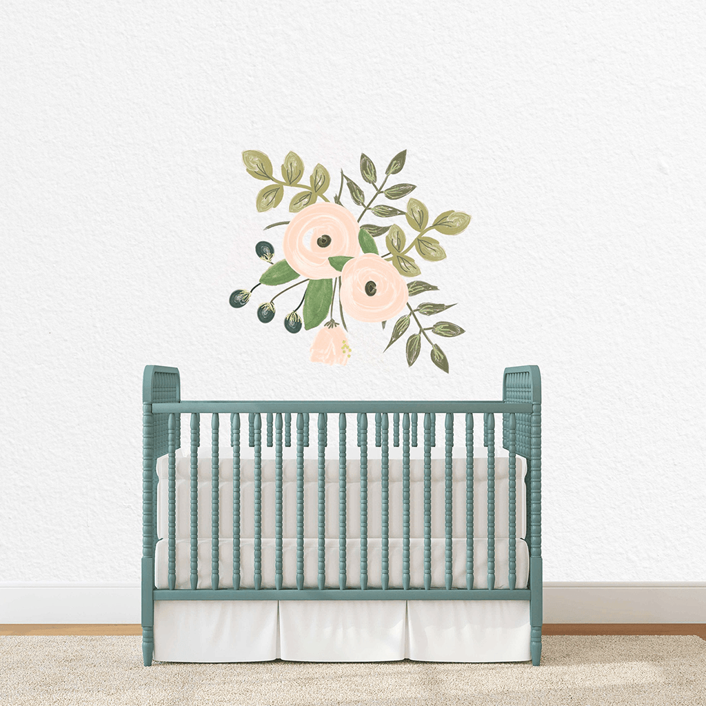 Peach Floral Cluster Individual Wall Decal - Project Nursery