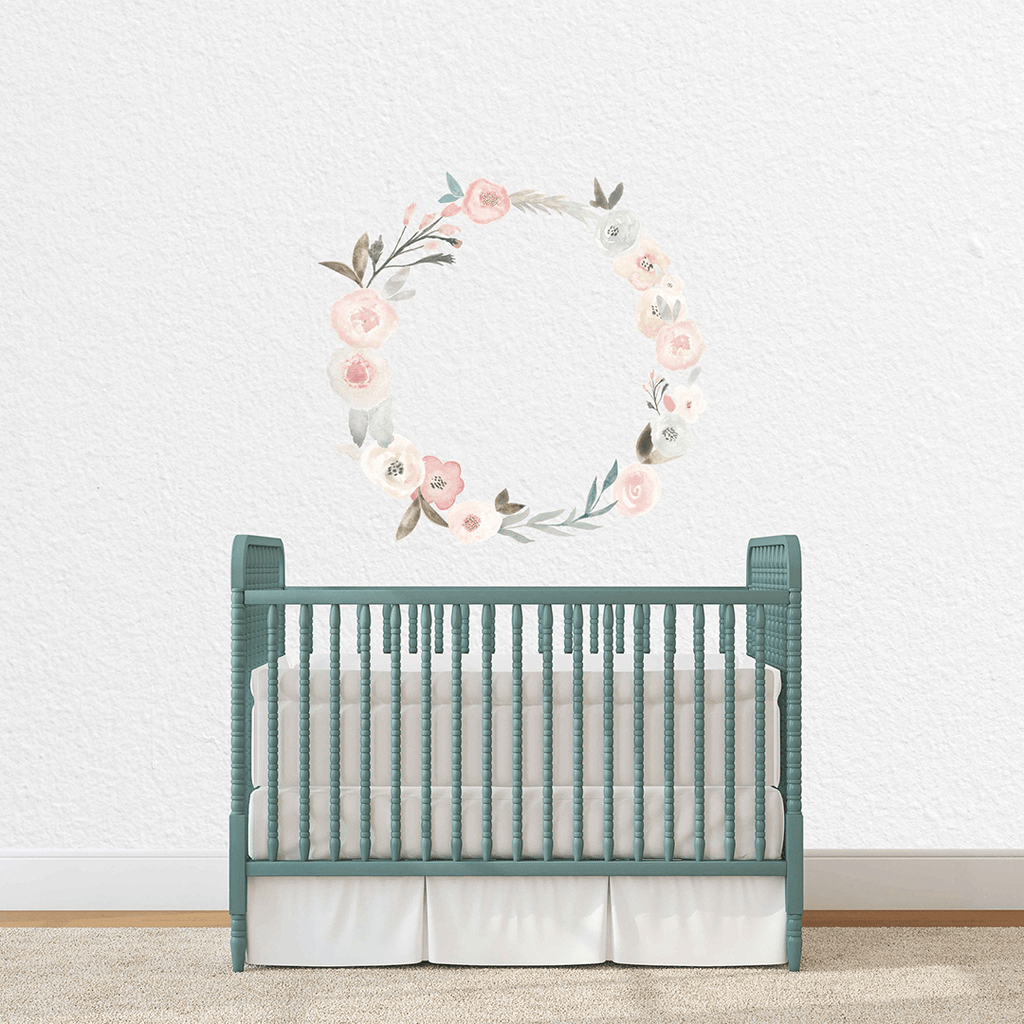 Pastel Pink Floral Wreath Individual Wall Decal - Project Nursery