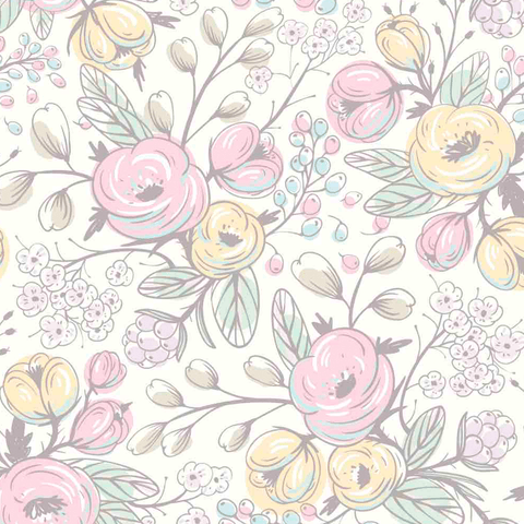 Contemporary Spring Floral Wallpaper Mural