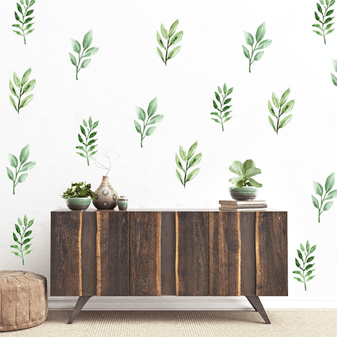 Watercolor Leaves Wall Decal Set