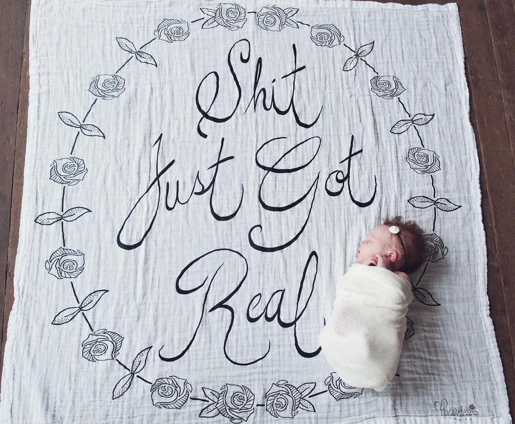 'Shit Just Got Real' Organic Swaddle Scarf  - The Project Nursery Shop - 3