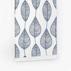 Blue Stripy Leaves Wallpaper - Project Nursery
