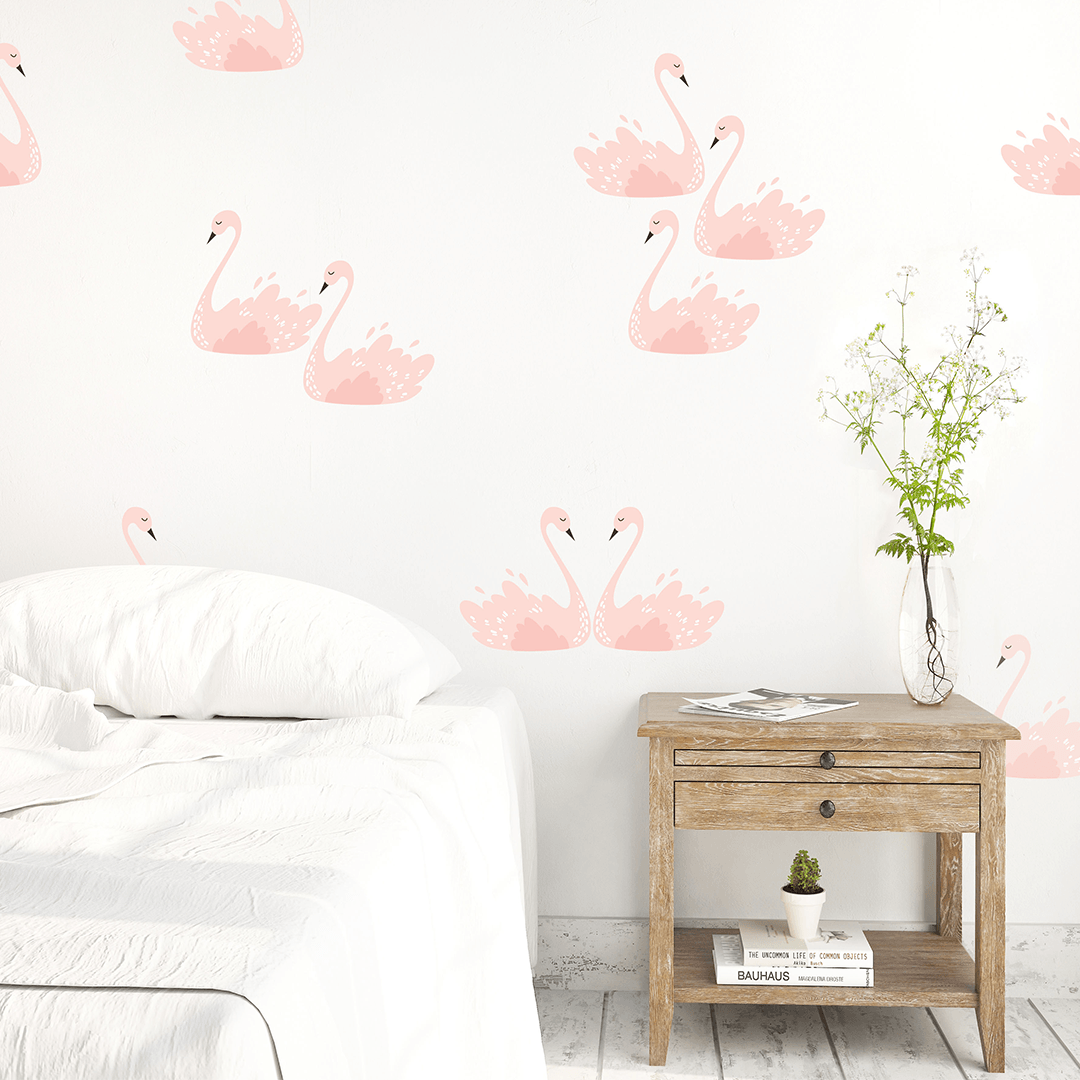 Pink Swans Wall Decals Feminine Wall Decals Project Nursery