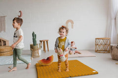 Organic Mustard Floral Padded Playmat - Project Nursery
