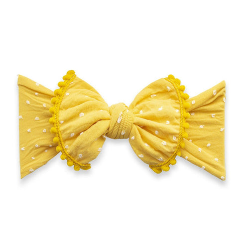 Mustard Dot Trimmed Shabby Knot Headband - Project Nursery