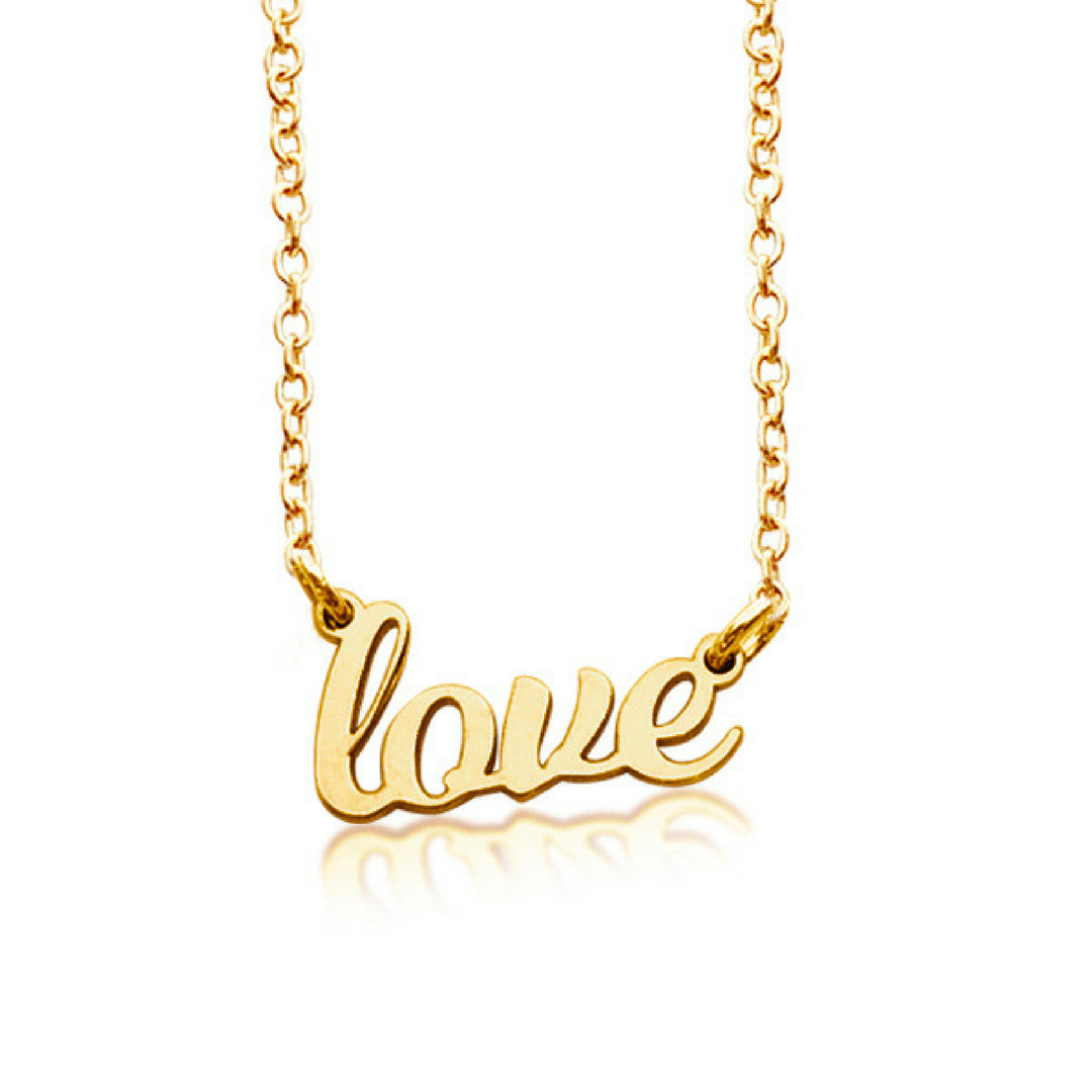 88fbe7c176664 Gold Love Nameplate Necklace