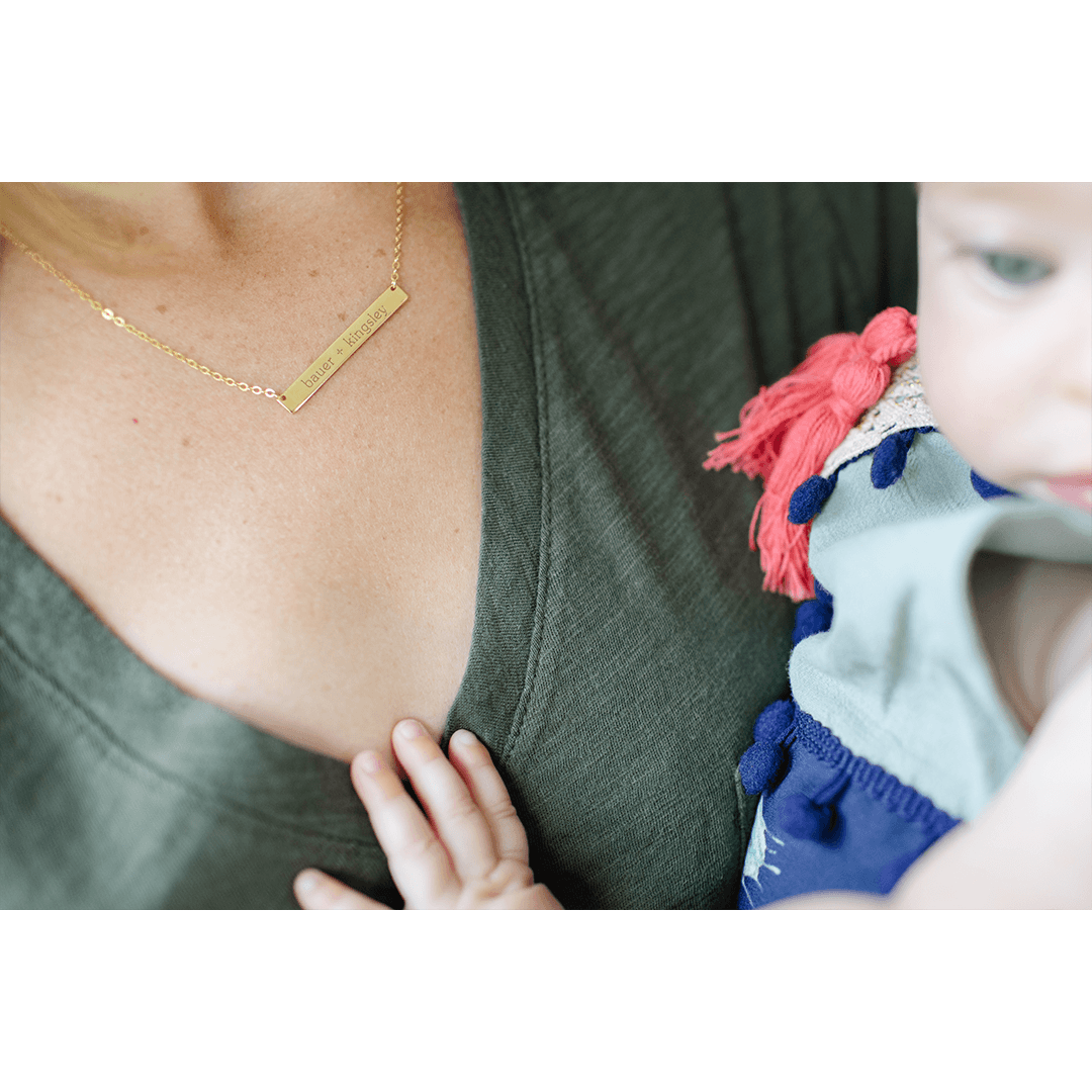 Skinny Bar Necklace - Gold - Project Nursery