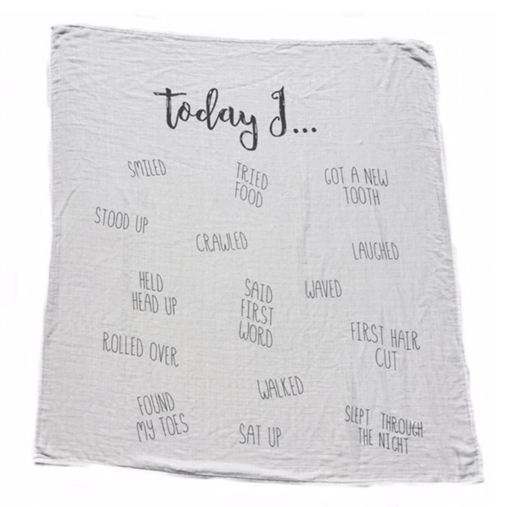 """Today I"" Cotton Muslin Swaddle Blanket  - The Project Nursery Shop - 1"