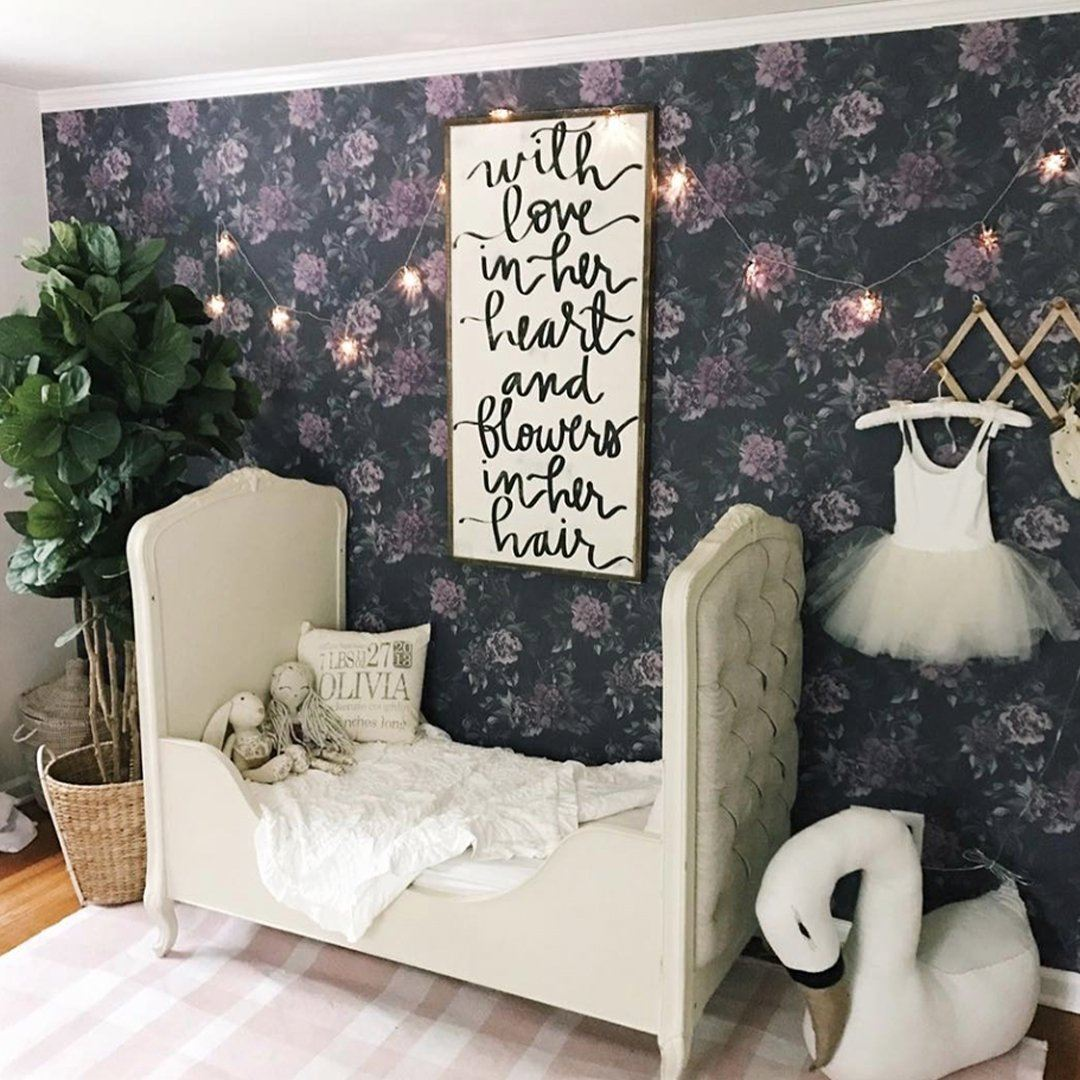 Dark Floral Wallpaper - Project Nursery