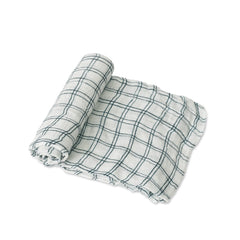 Navy Windowpane Deluxe Muslin Swaddle Blanket - Project Nursery