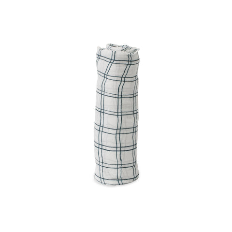 Blue Plaid Deluxe Muslin Swaddle Blanket