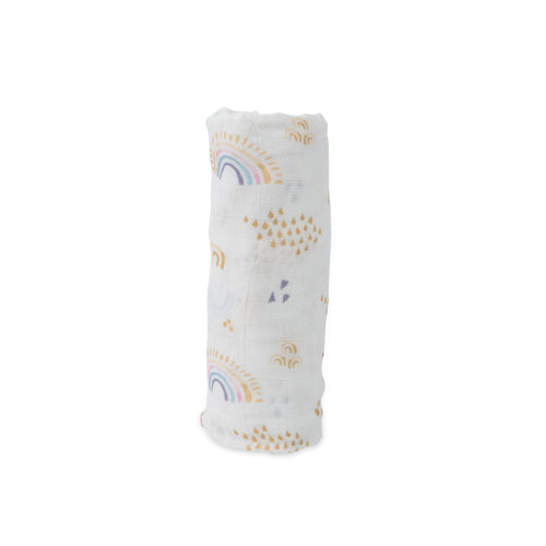 Rainbows + Raindrops Deluxe Muslin Swaddle Blanket - Project Nursery