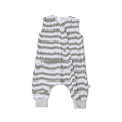 Cotton Muslin Sleep Romper - Grey Stripe - Project Nursery