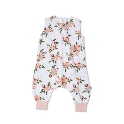 Cotton Muslin Sleep Romper - Watercolor Roses - Project Nursery