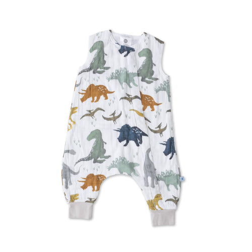 Cotton Muslin Sleep Romper - Dino Friends - Project Nursery