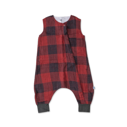 Red Plaid Cotton Muslin Sleep Romper - Project Nursery