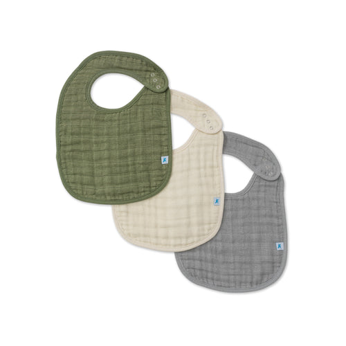 Cotton Muslin Classic Bib 3 Pack - Fern Set - Project Nursery