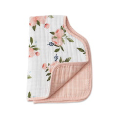 Watercolor Roses Cotton Muslin Burp Cloth - Project Nursery