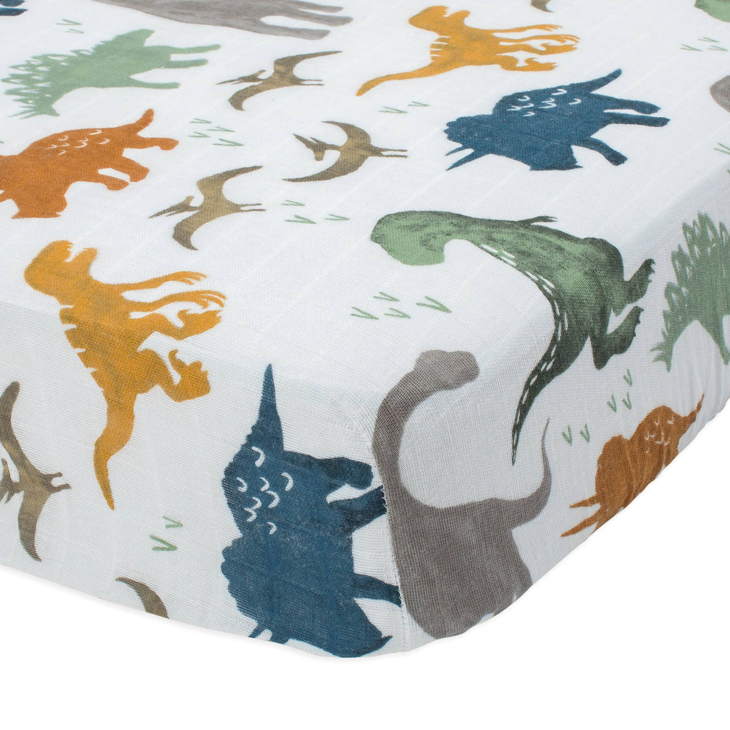 Dino Friends Cotton Muslin Crib Sheet - Project Nursery
