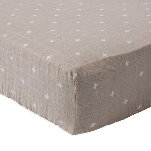 Taupe Cross Cotton Muslin Crib Sheet - Project Nursery