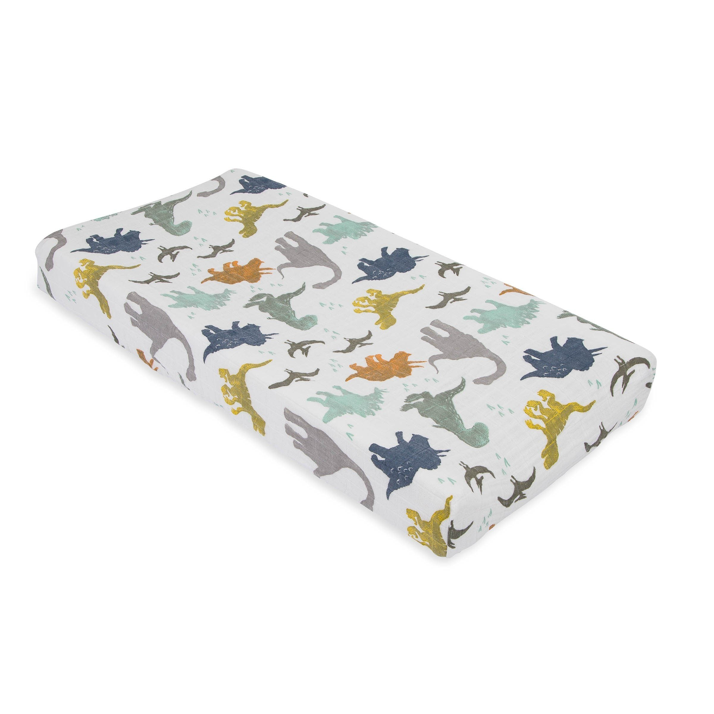 Dino Friends Cotton Muslin Changing Pad Cover - Project Nursery