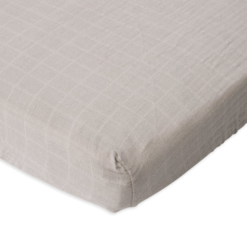 Warm Grey Cotton Muslin Mini Crib Sheet - Project Nursery