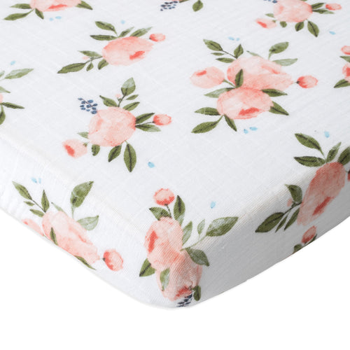 Watercolor Roses Cotton Muslin Mini Crib Sheet - Project Nursery