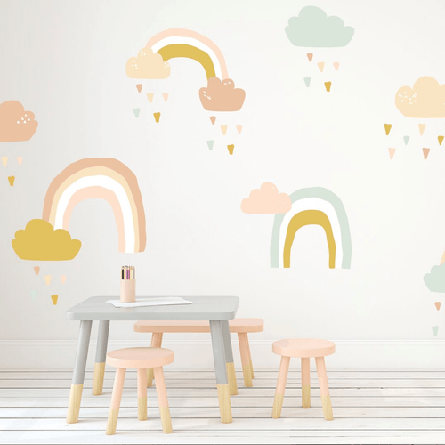 Large Rainy Rainbows Wall Decal Set - Pastel Colors - Project Nursery