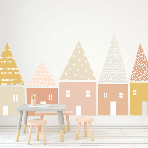 Large Folk House Wall Decal Set - Pastel Colors - Project Nursery