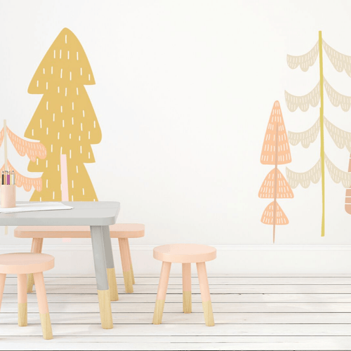 Large Fairy Tale Trees Wall Decal Set - Pastel Colors - Project Nursery