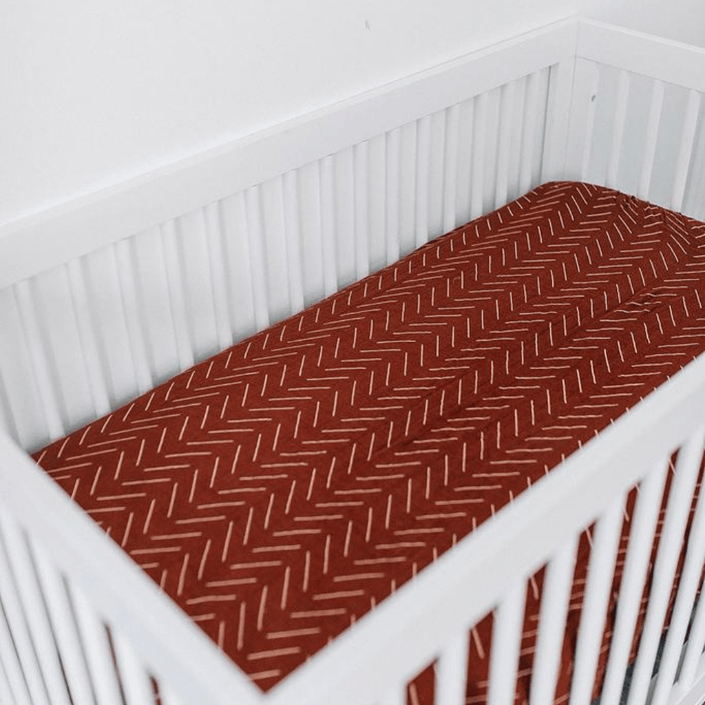 Rust Mudcloth Muslin Crib Sheet - Project Nursery