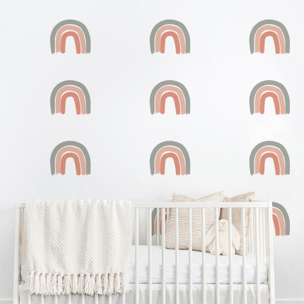 Rainbow Wall Decal Set - Grey + Coral - Project Nursery