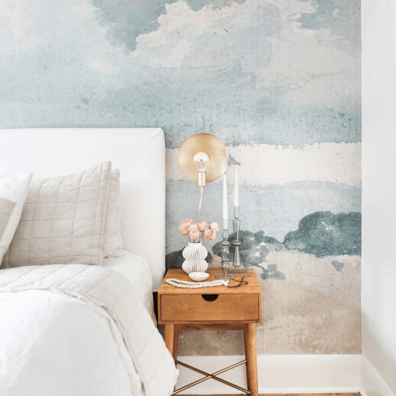 Watercolor Blue + Grey Cloud Wallpaper Mural - Project Nursery