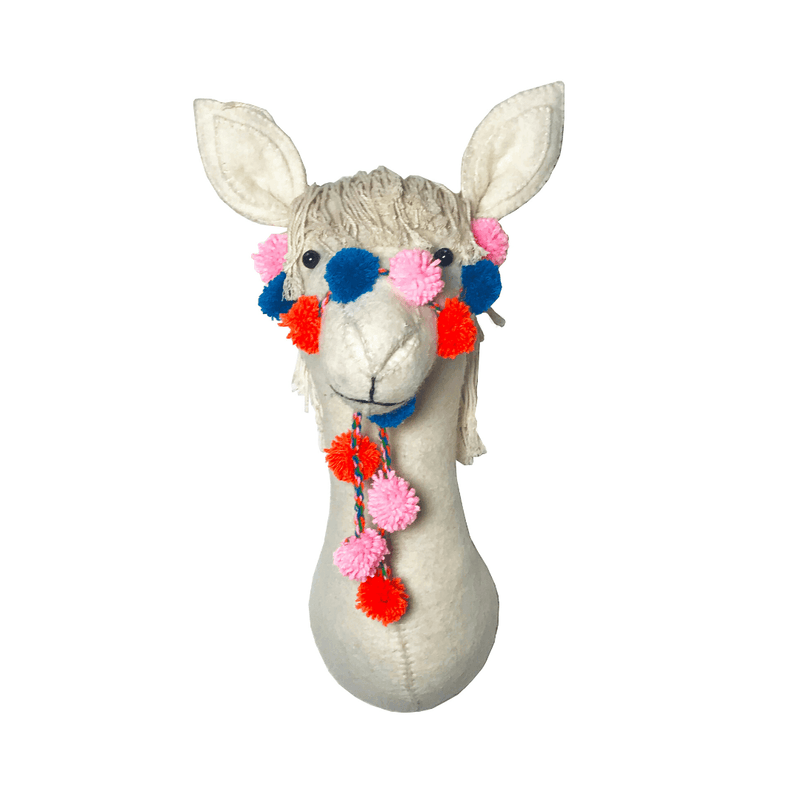 Semi-Size Cream Llama Head Wall Hanging with Pom-Pom Bridle - Project Nursery