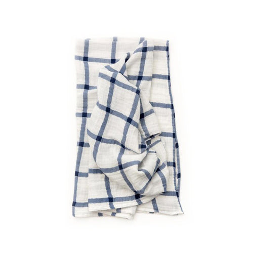 Navy Plaid Swaddle Blanket - Project Nursery