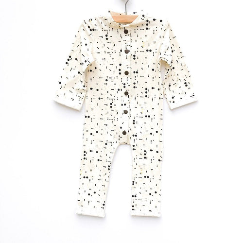 Mod Dot Pima Cotton L/S Romper W/ Snaps - Project Nursery