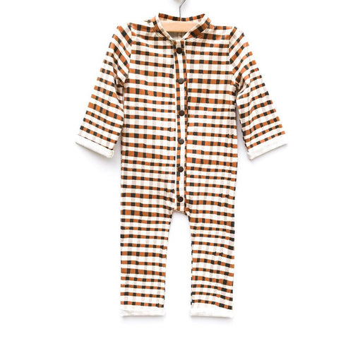 Trusty Plaid Pima Cotton L/S Romper - Project Nursery