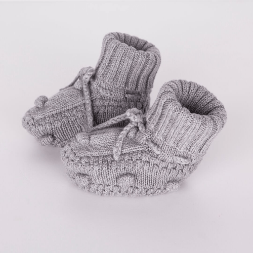Gray Knitted Booties - Project Nursery