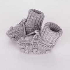 Grey Knitted Booties - Project Nursery